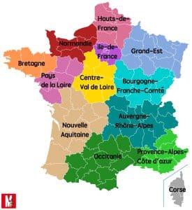 Frankreich Karte mit neuen Regionen
