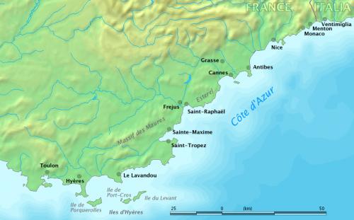 Karte Côte d'Azur